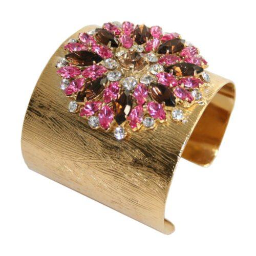 Bracciale metallo zigrinato dorato con gioiello strass rosa