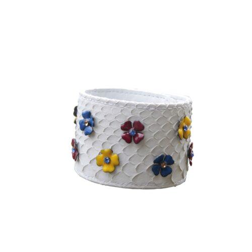 Bracciale pitone bianco fiorellini smalto colori vari