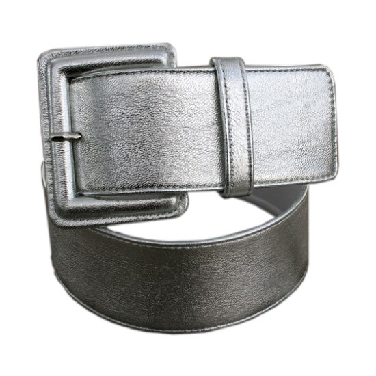 Cintura pelle argento fibbia ricoperta
