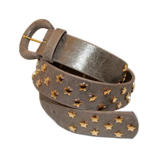 Cintura pelle mordorè con stelle dorate