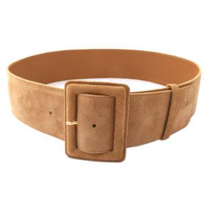 Cintura da donna in camoscio colore cammello fibbia ricoperta