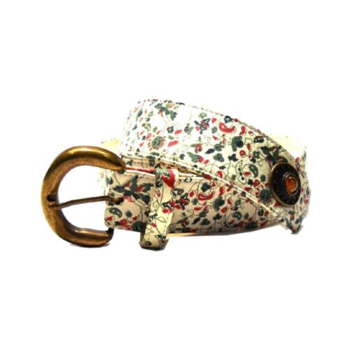 Cintura nappa stampa floreale con borchie