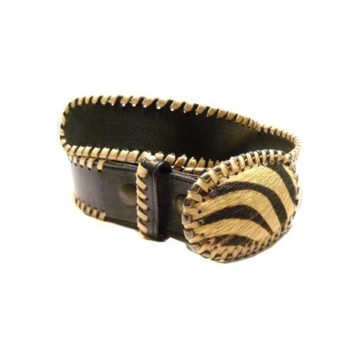 Cintura nappa testa moro con cavalletto fibbia cavallino zebrato