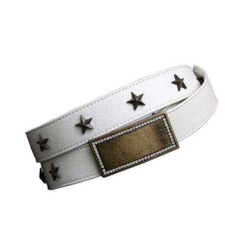 Cintura pelle bianca fibbia gioiello ottonata con strass