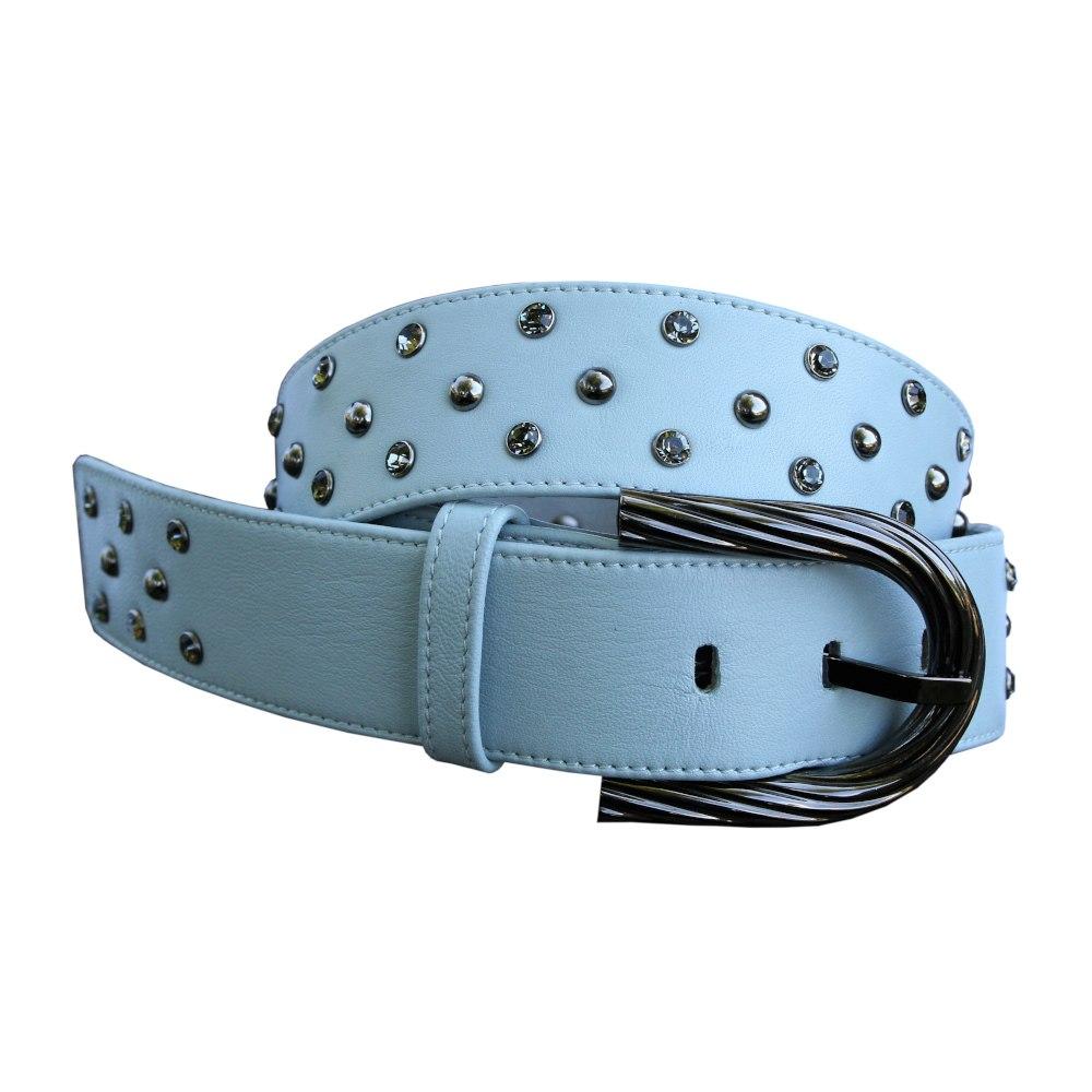 Cintura nappa azzurra rivetti strass fibbia brunita