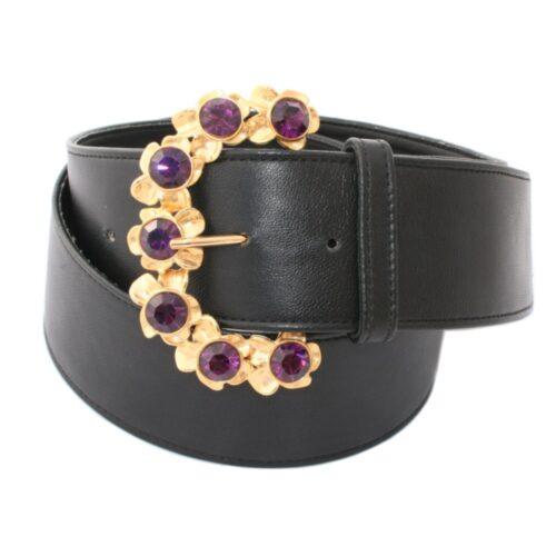 Cintura nappa nera fibbia gioiello oro ametiste