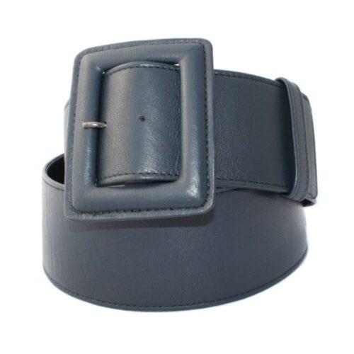 Cintura alta nappa blu fibbia ricoperta