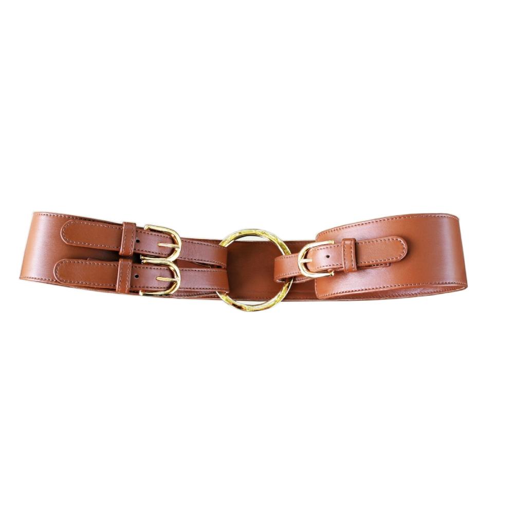 Cintura nappa cuoio allacciata con cinturini ed anella dorata
