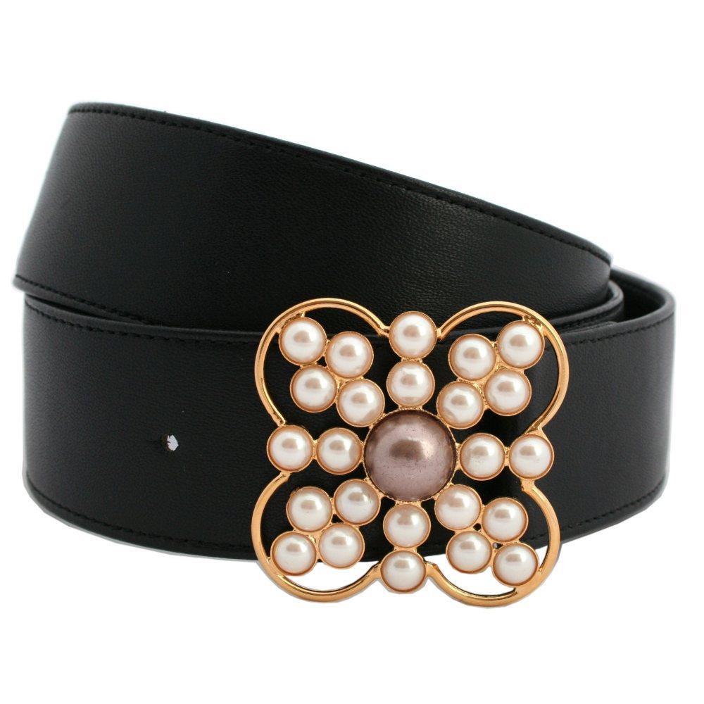 Cintura nappa nera fibbia gioiello dorata perle