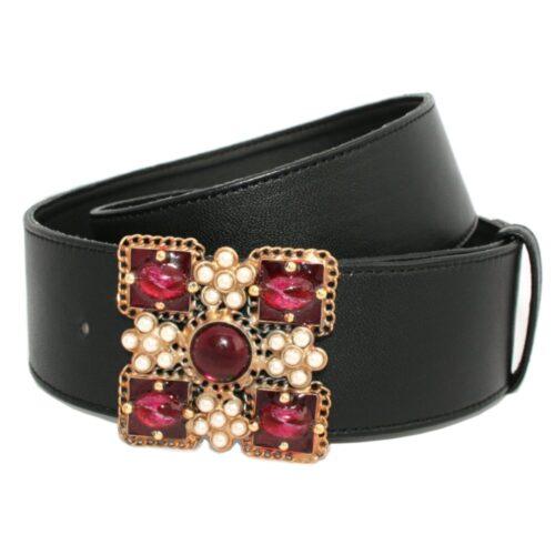 Cintura nappa nera fibbia gioiello dorata pietre rosse perle