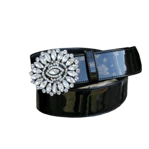 Cintura vernice nera fibbia gioiello strass cristallo