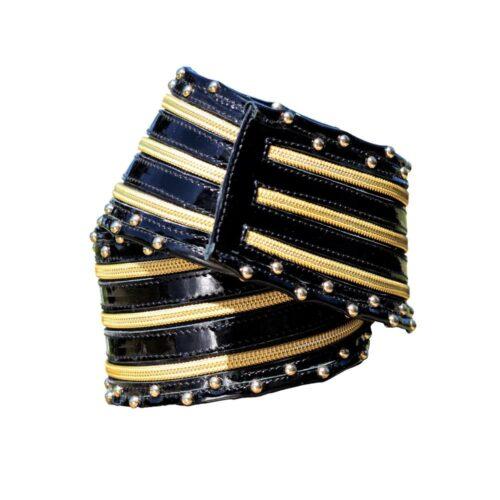 Cintura alta vernice nera lampo dorate