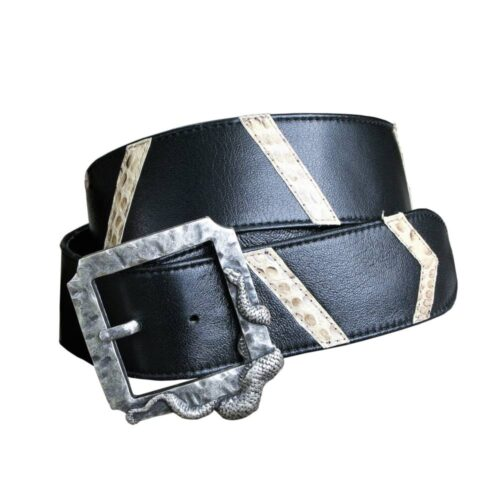 Cintura nappa nera intarsi pitone roccia fibbia metallo argento scuro