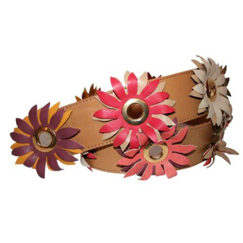 Cintura nappa cuoio grandi fiori nappa multicolori