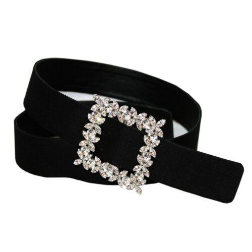 Cintura raso nero fibbia gioiello navette cristallo