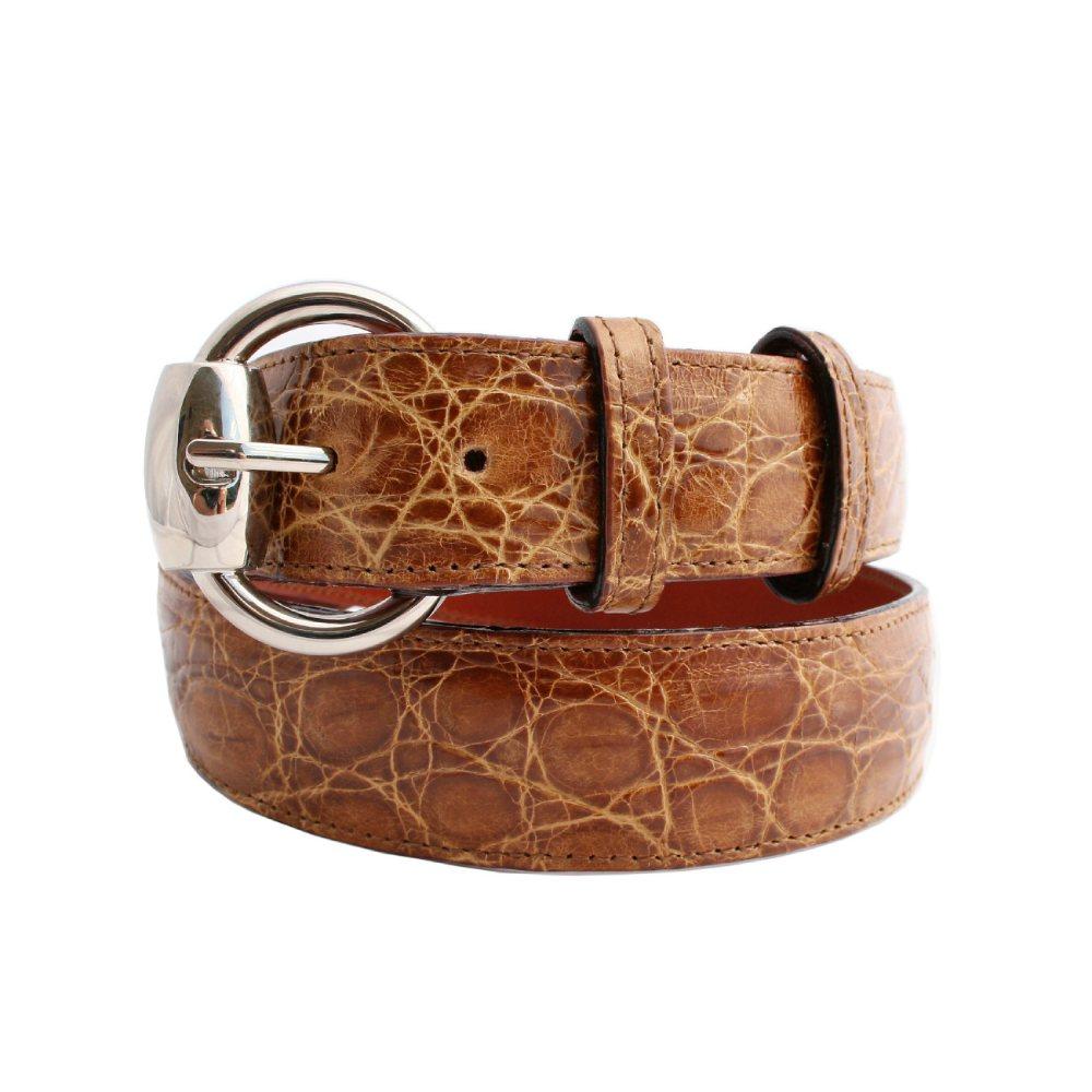 Cintura da donna in coccodrillo color miele