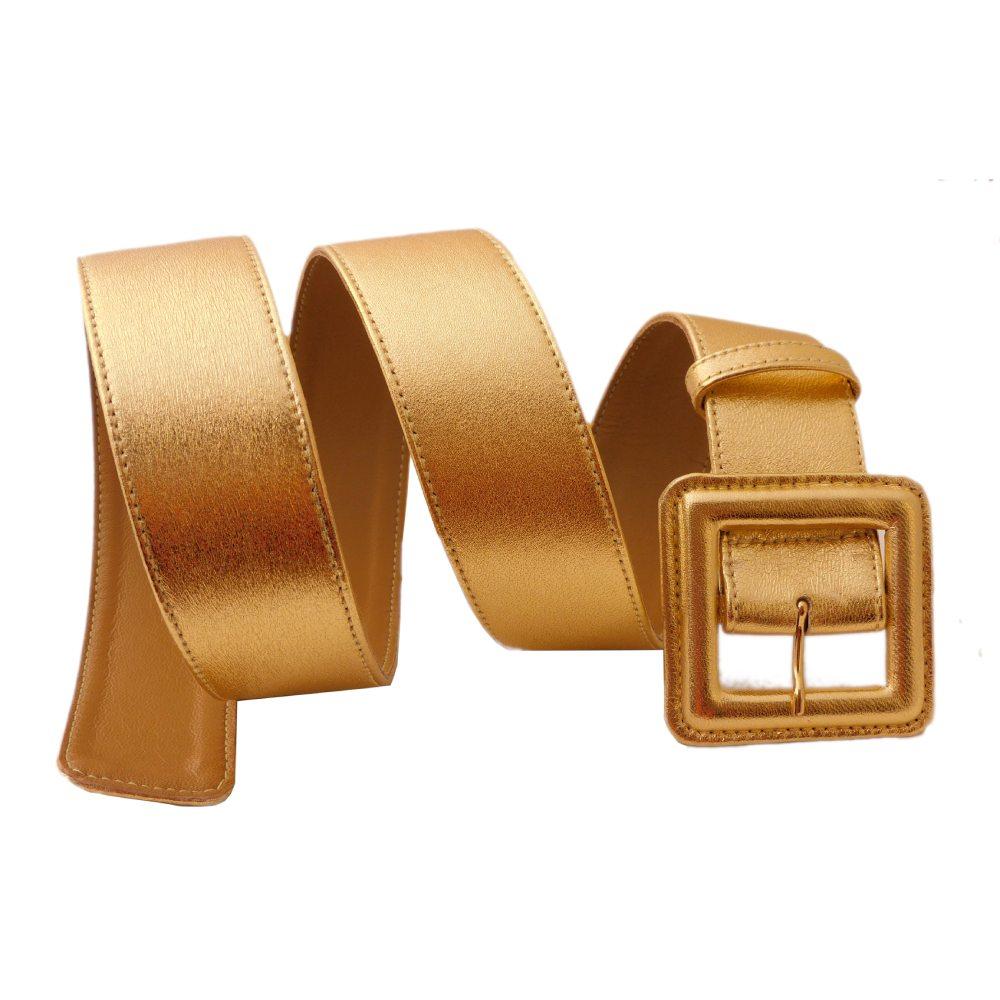 Cintura donna cm 4 nappa oro fibbia ricoperta