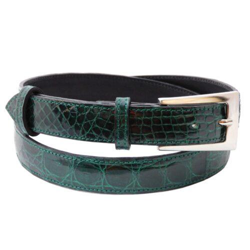 Cintura donna in coccodrillo verde