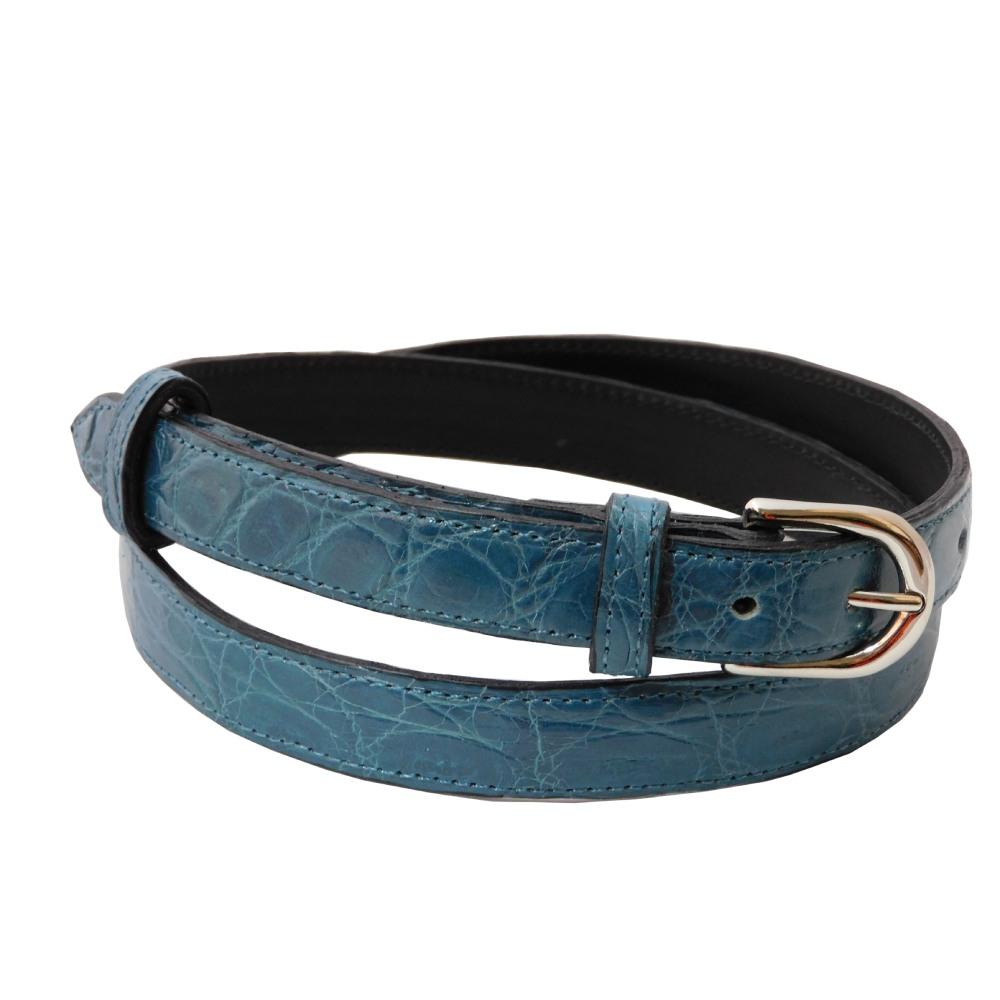 Cintura donna in coccodrillo azzurro