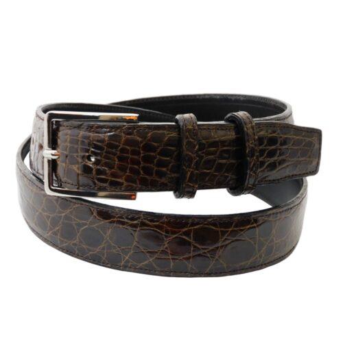 Cintura da uomo in coccodrillo testa di moro cm 3,5
