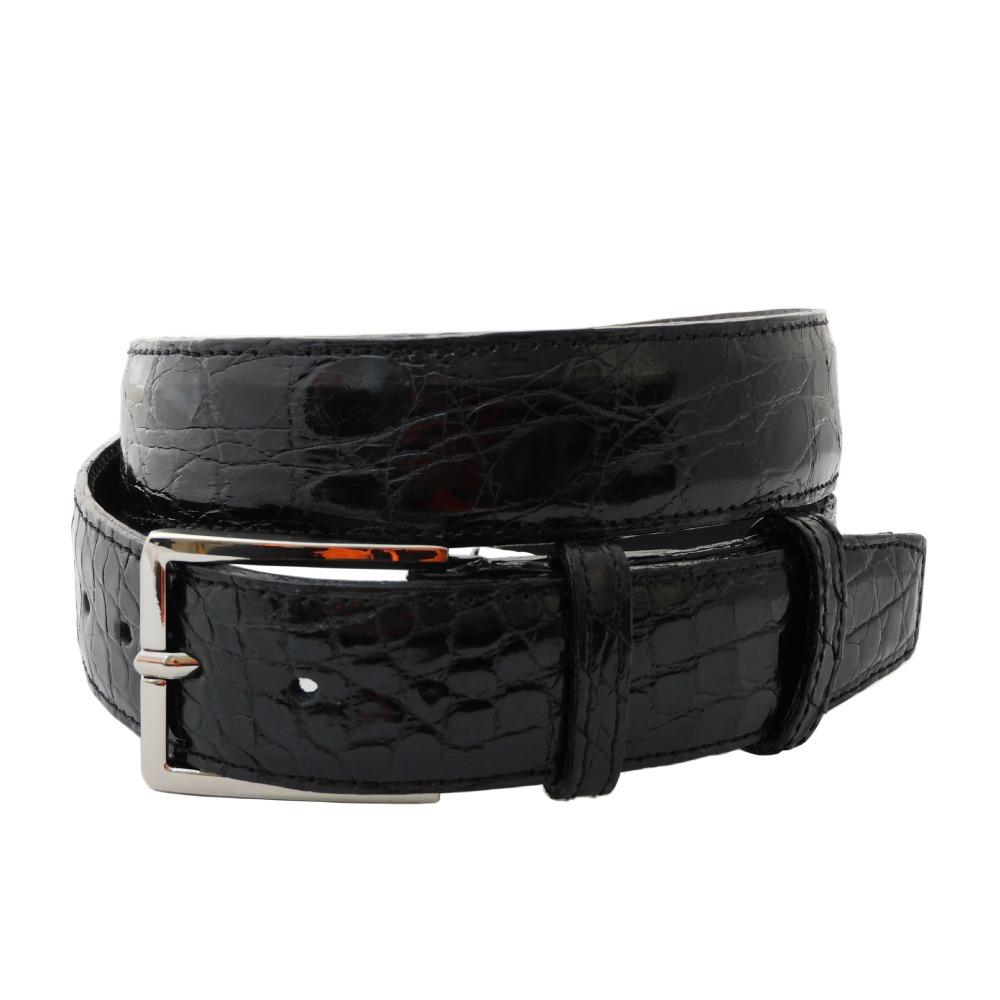 Cintura da uomo in coccodrillo nero altezza cm 3,5