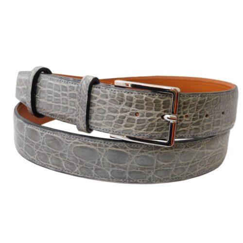 Cintura da uomo in coccodrillo colore grigio chiaro