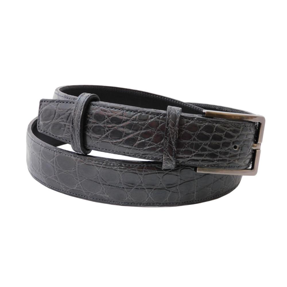 Cintura da uomo cm 3,5 in coccodrillo antracite