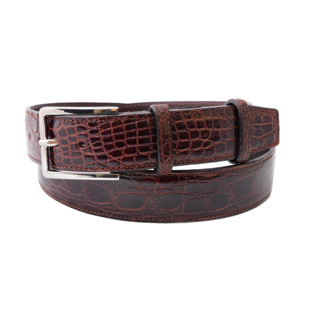 Cintura da uomo in coccodrillo dark gold